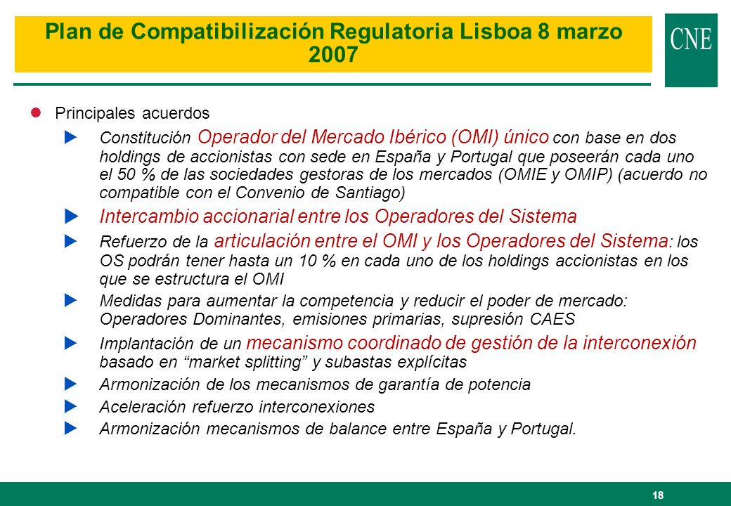 Plan de Compatibilización Regulatoria Lisboa 8 marzo 2007