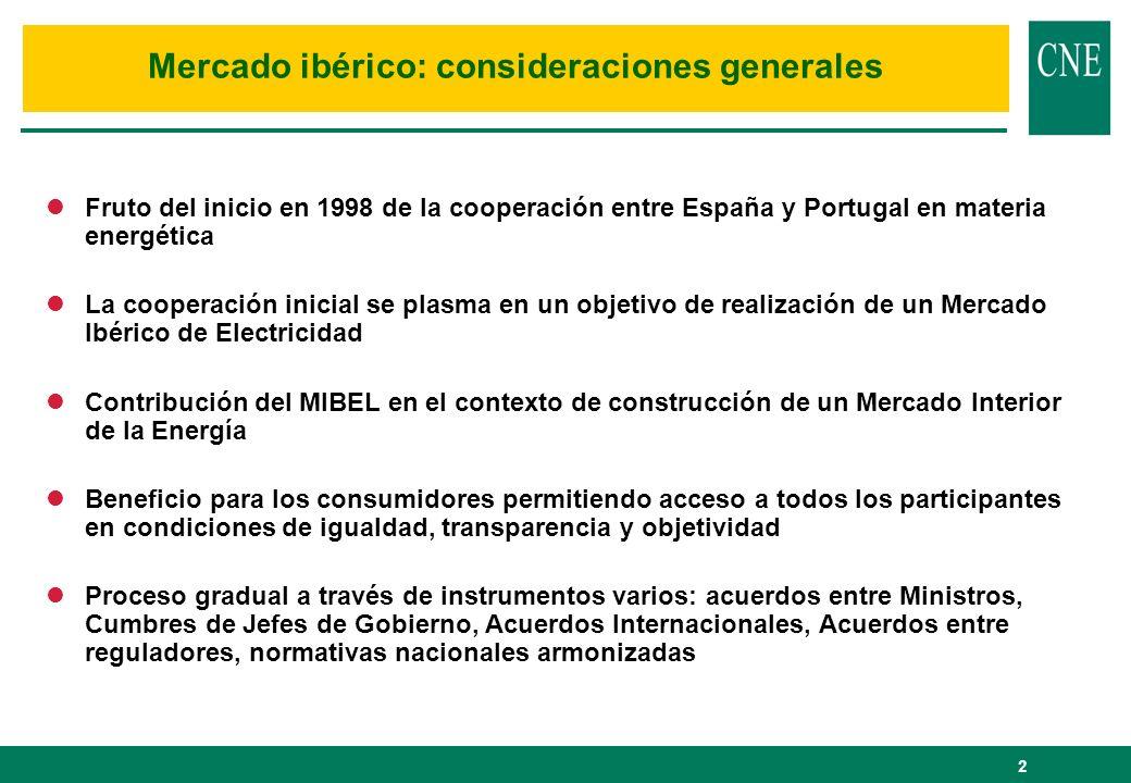 Mercado ibérico: consideraciones generales