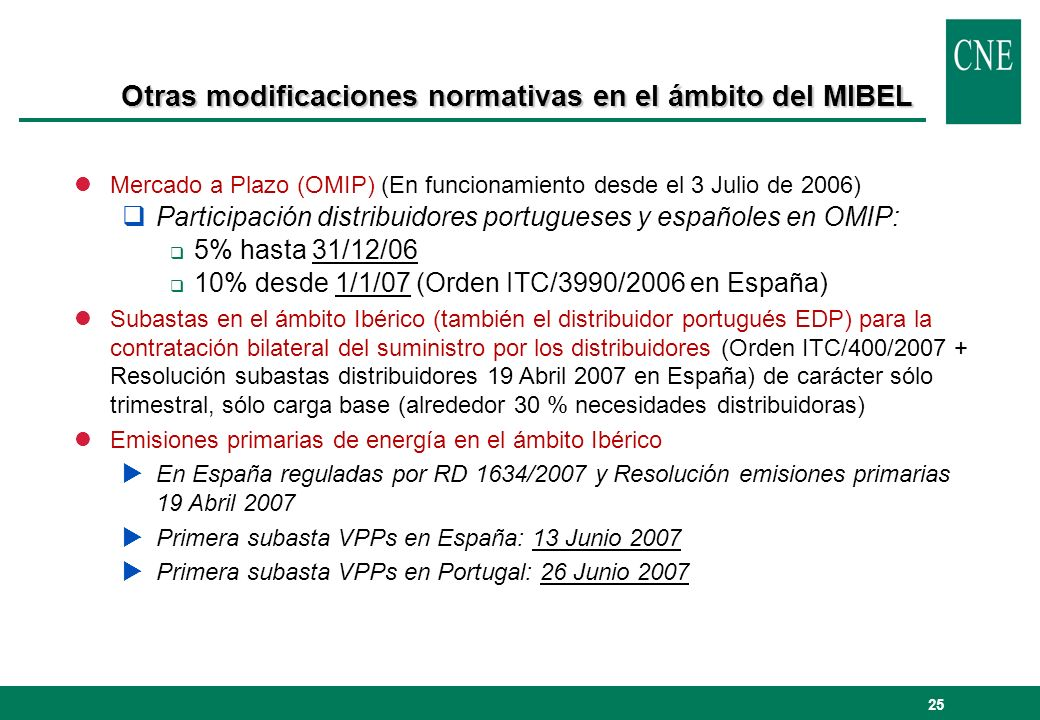 Otras modificaciones normativas en el ámbito del MIBEL