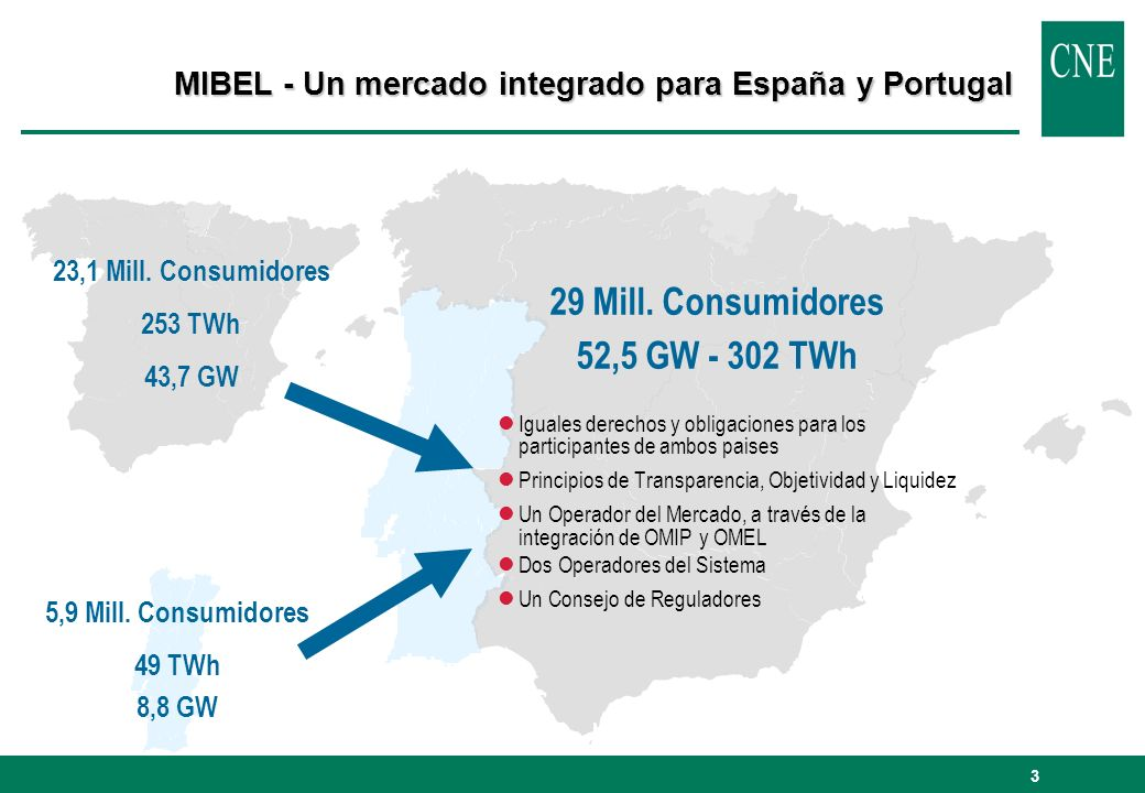 29 Mill. Consumidores 52,5 GW - 302 TWh