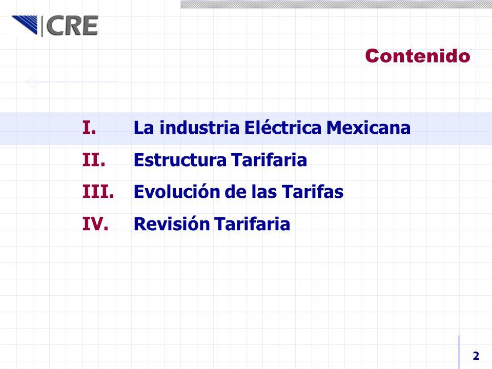 Contenido La industria Eléctrica Mexicana Estructura Tarifaria