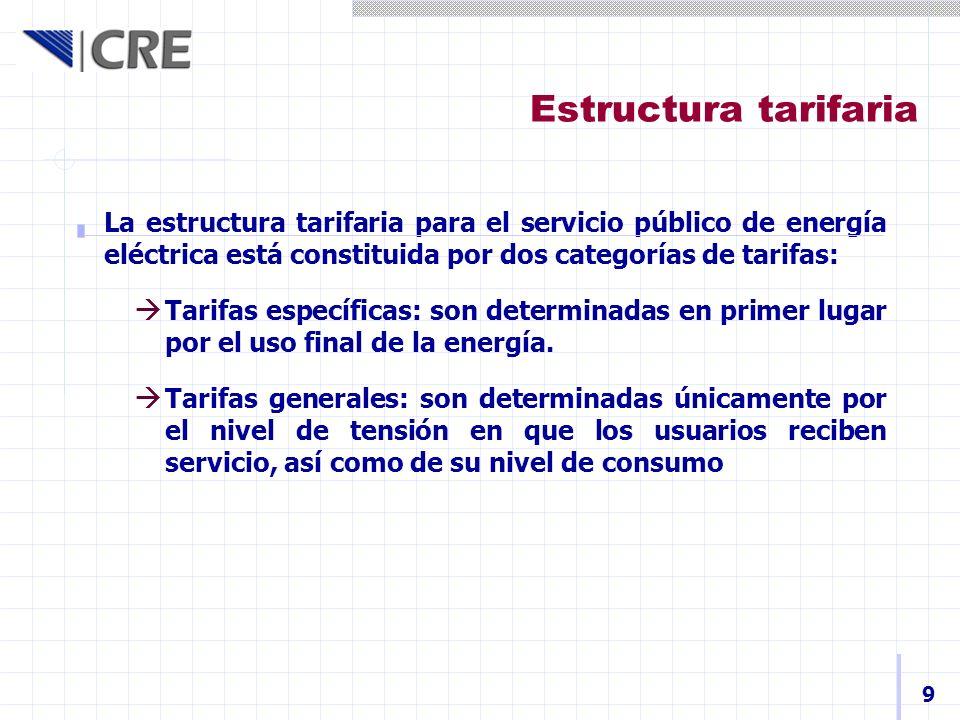 Estructura tarifaria La estructura tarifaria para el servicio público de energía eléctrica está constituida por dos categorías de tarifas: