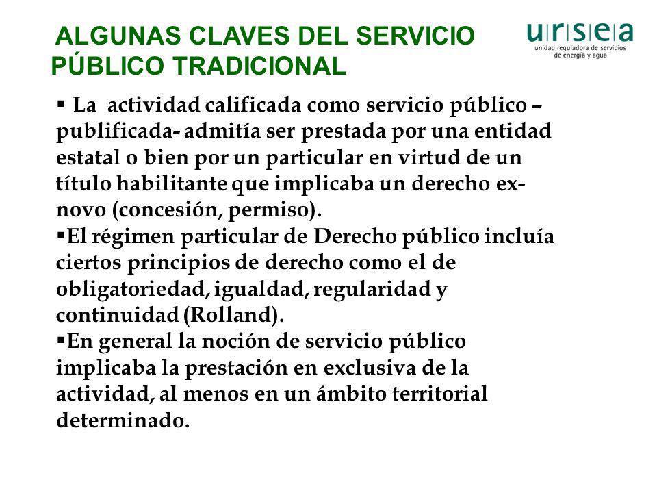 ALGUNAS CLAVES DEL SERVICIO PÚBLICO TRADICIONAL