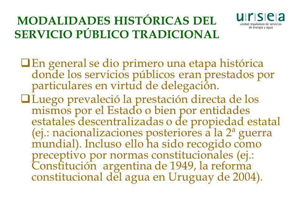 MODALIDADES HISTÓRICAS DEL SERVICIO PÚBLICO TRADICIONAL