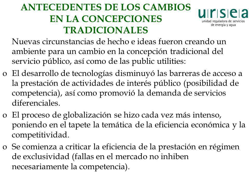 ANTECEDENTES DE LOS CAMBIOS EN LA CONCEPCIONES TRADICIONALES