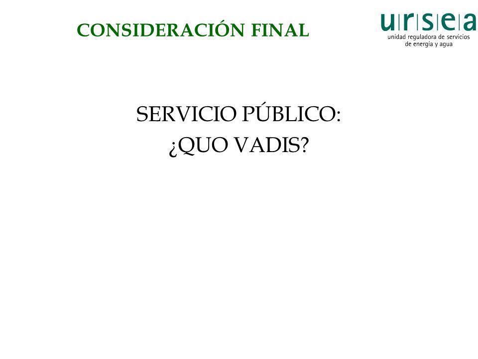 CONSIDERACIÓN FINAL SERVICIO PÚBLICO: ¿QUO VADIS
