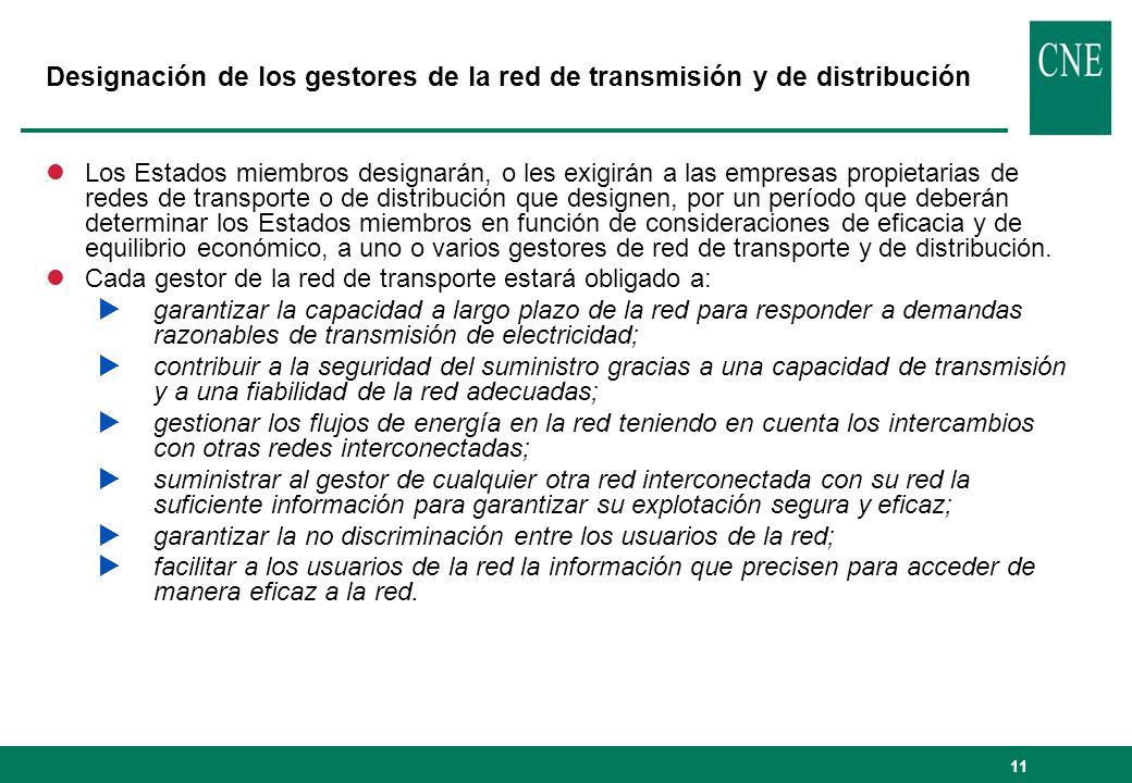 Designación de los gestores de la red de transmisión y de distribución