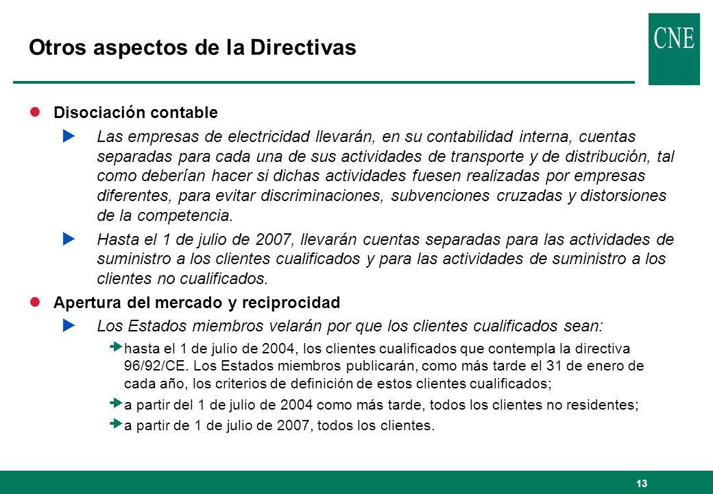 Otros aspectos de la Directivas