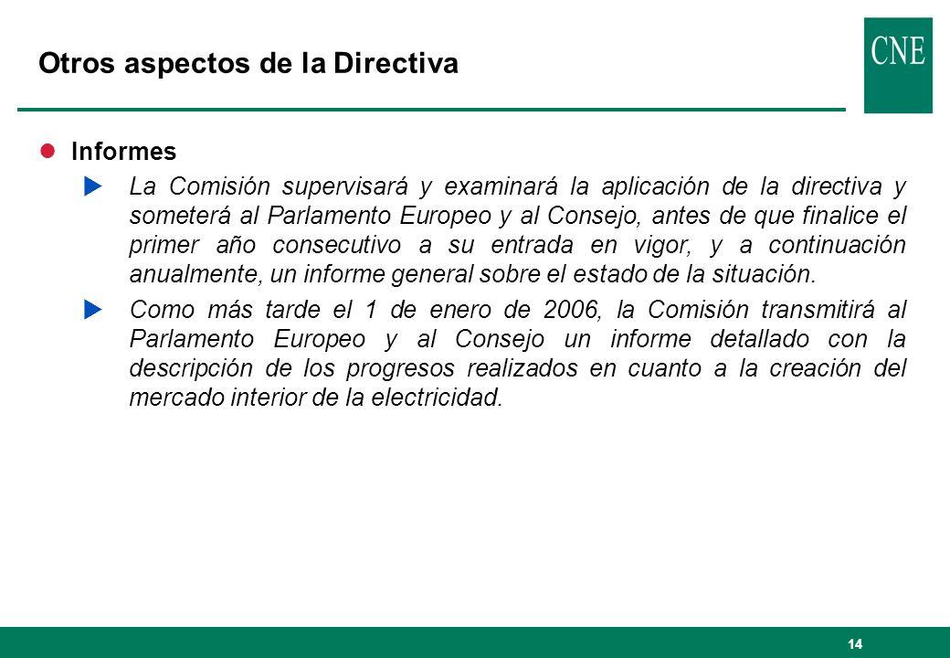 Otros aspectos de la Directiva