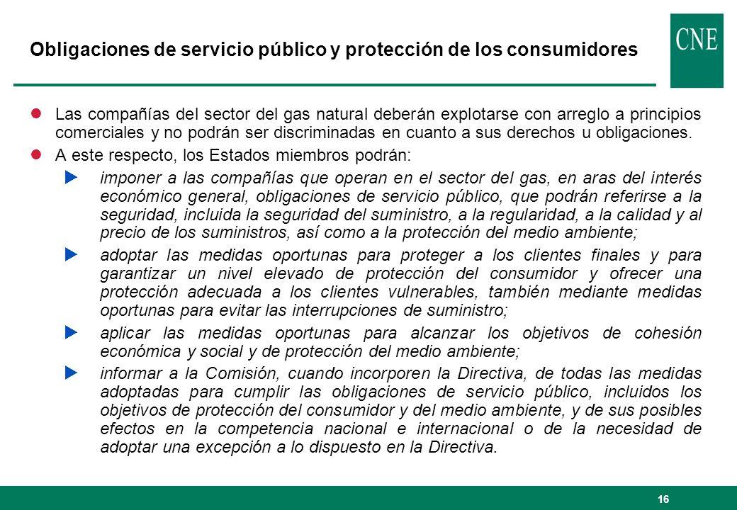 Obligaciones de servicio público y protección de los consumidores