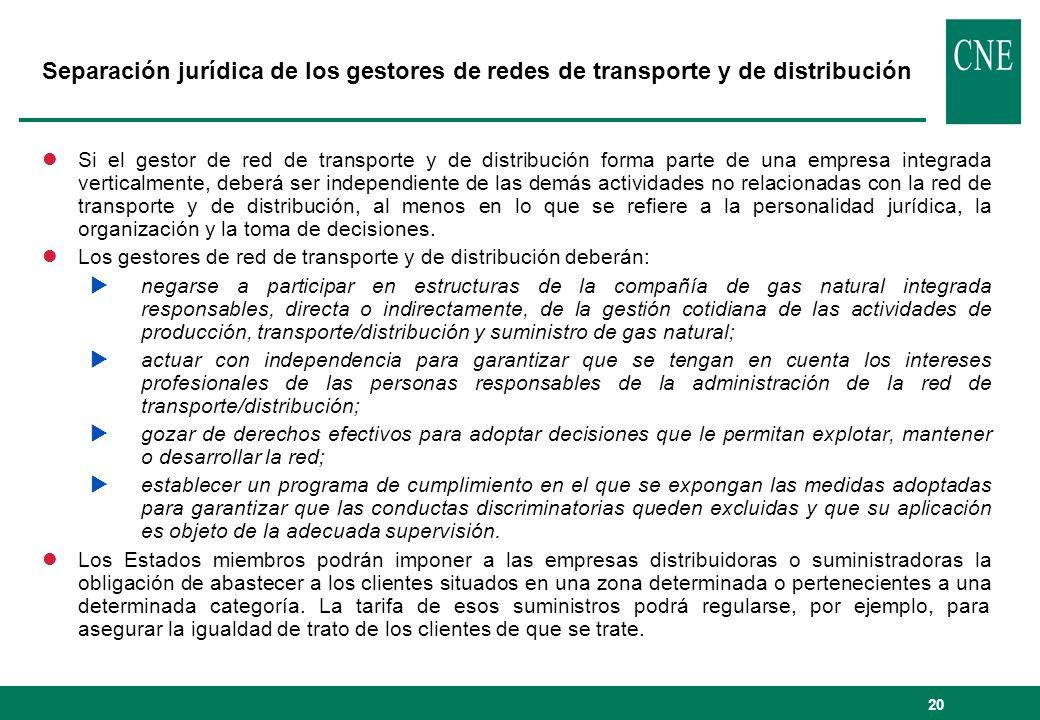 Separación jurídica de los gestores de redes de transporte y de distribución