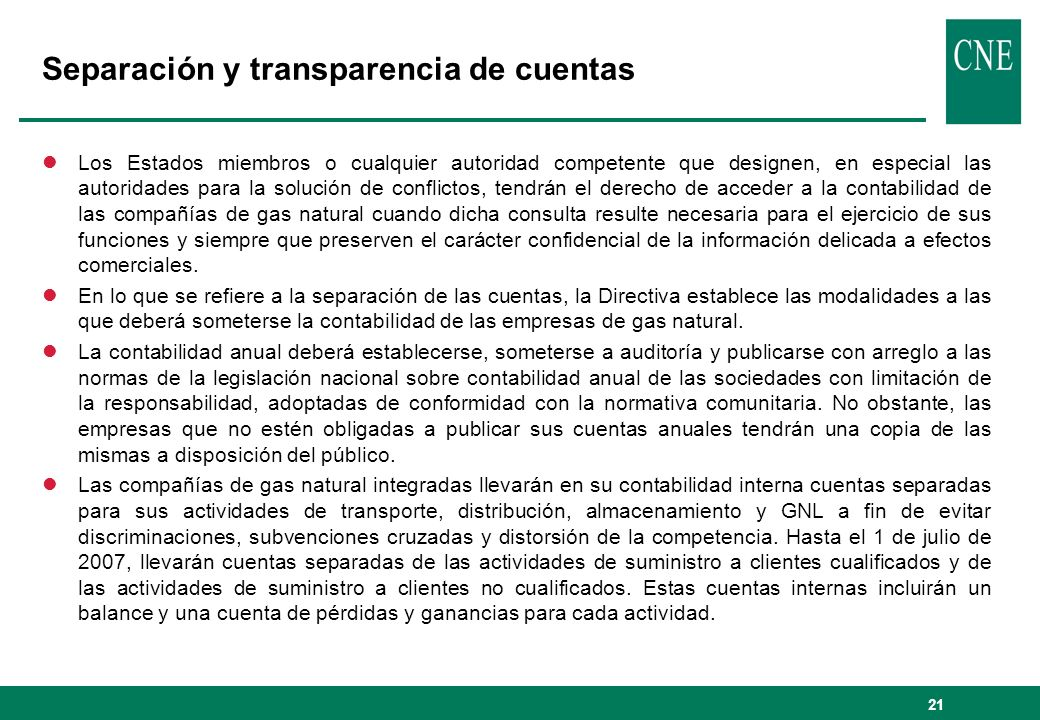 Separación y transparencia de cuentas