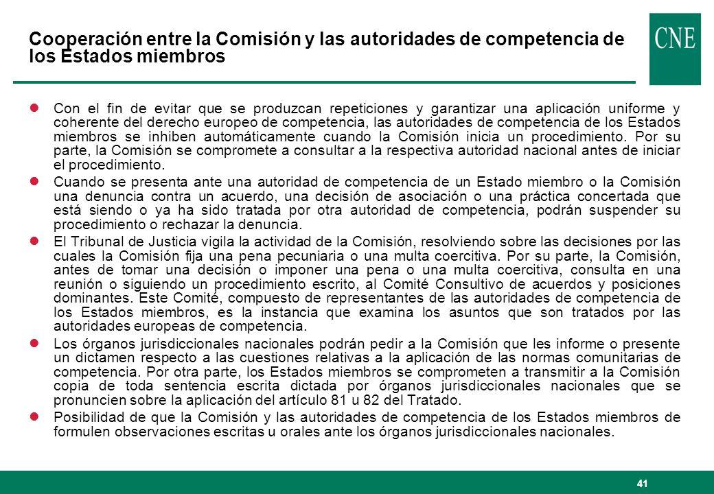 Cooperación entre la Comisión y las autoridades de competencia de los Estados miembros
