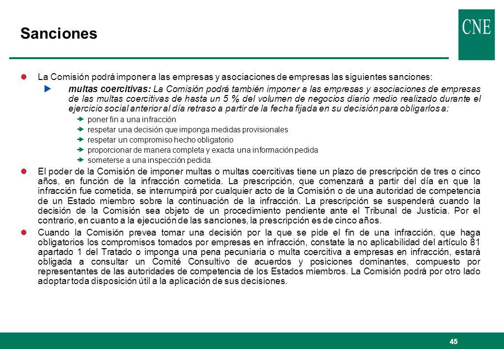 Sanciones La Comisión podrá imponer a las empresas y asociaciones de empresas las siguientes sanciones: