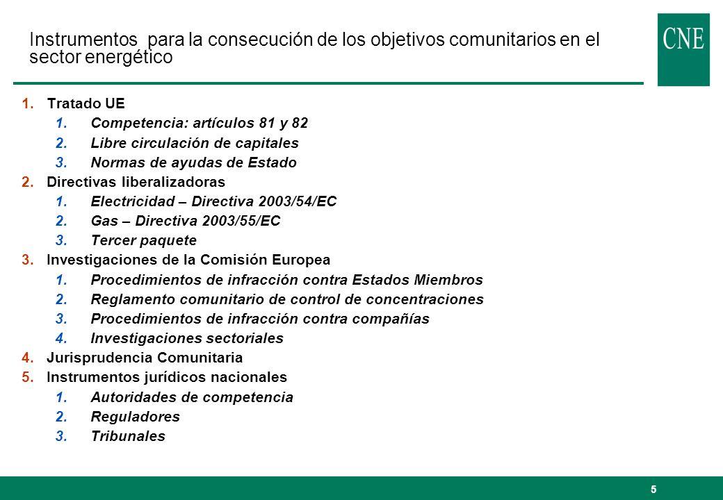 Instrumentos para la consecución de los objetivos comunitarios en el sector energético