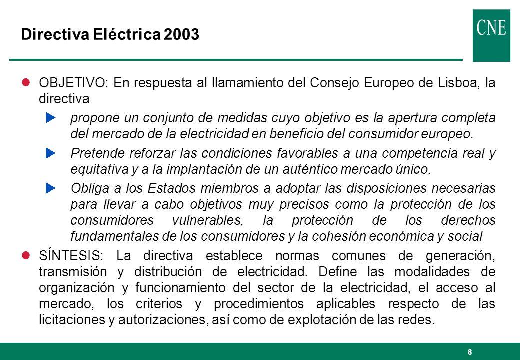 Directiva Eléctrica 2003 OBJETIVO: En respuesta al llamamiento del Consejo Europeo de Lisboa, la directiva.
