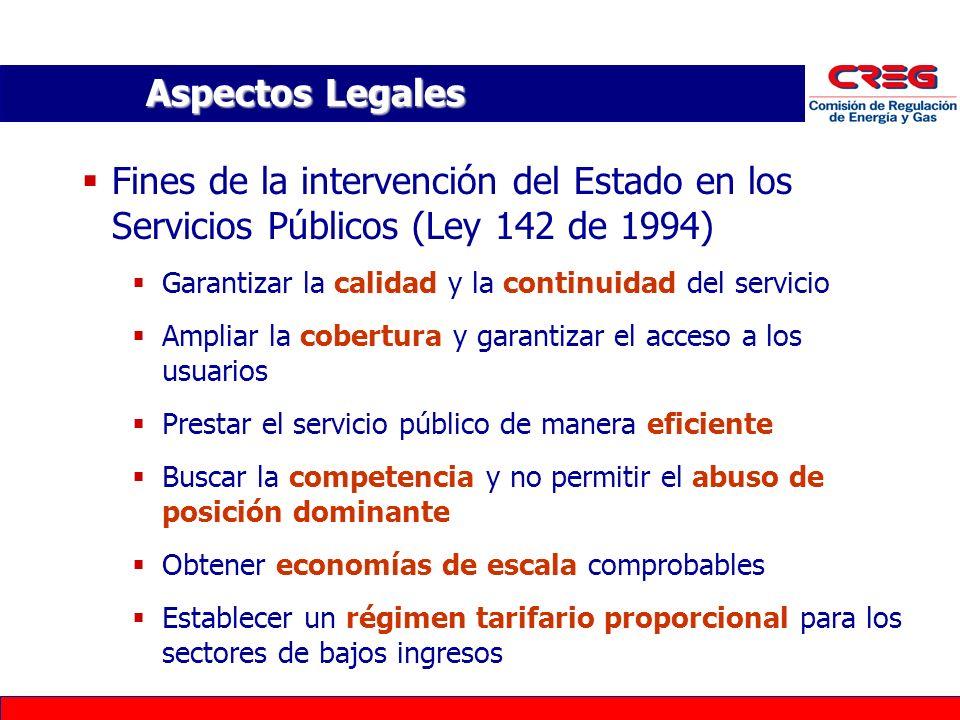 Aspectos Legales Fines de la intervención del Estado en los Servicios Públicos (Ley 142 de 1994) Garantizar la calidad y la continuidad del servicio.