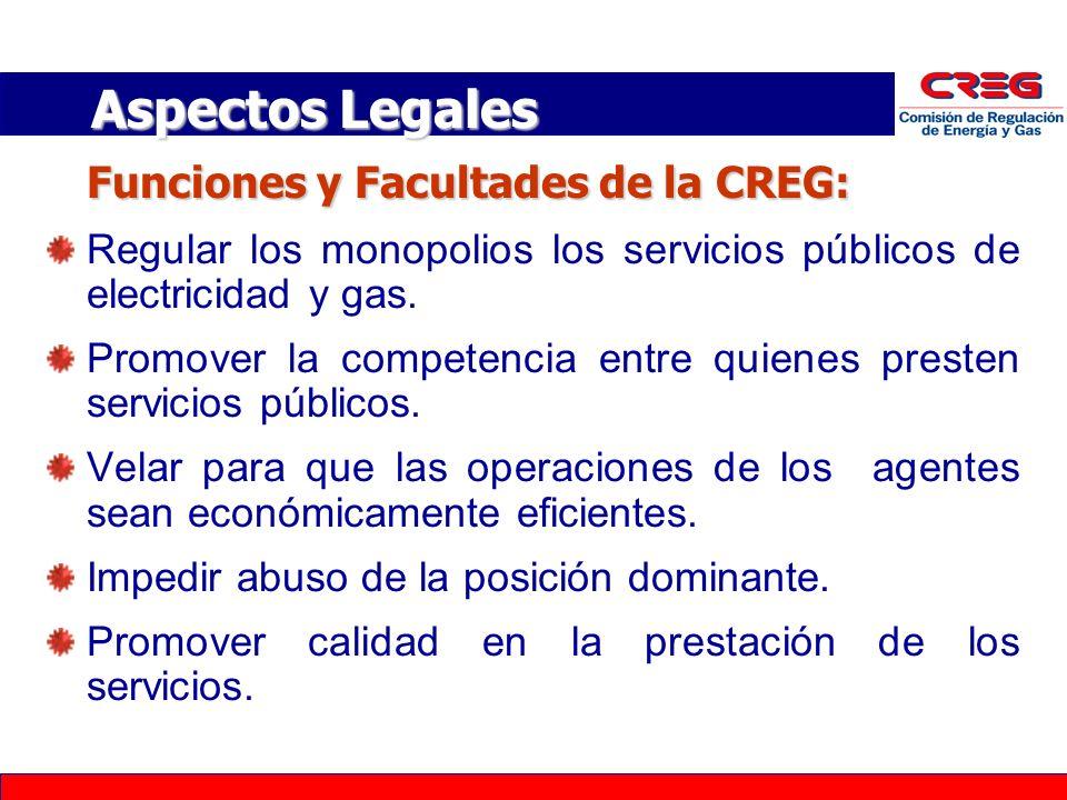 Aspectos Legales Funciones y Facultades de la CREG: