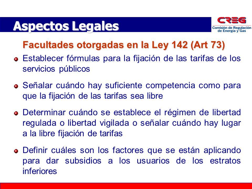Aspectos Legales Facultades otorgadas en la Ley 142 (Art 73)