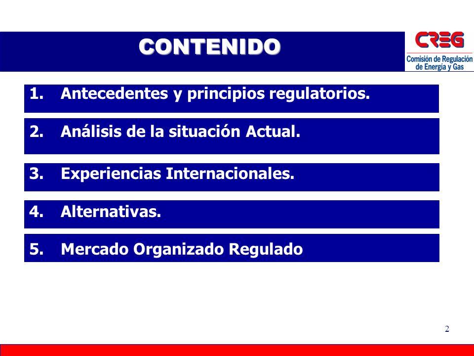 CONTENIDO Antecedentes y principios regulatorios.