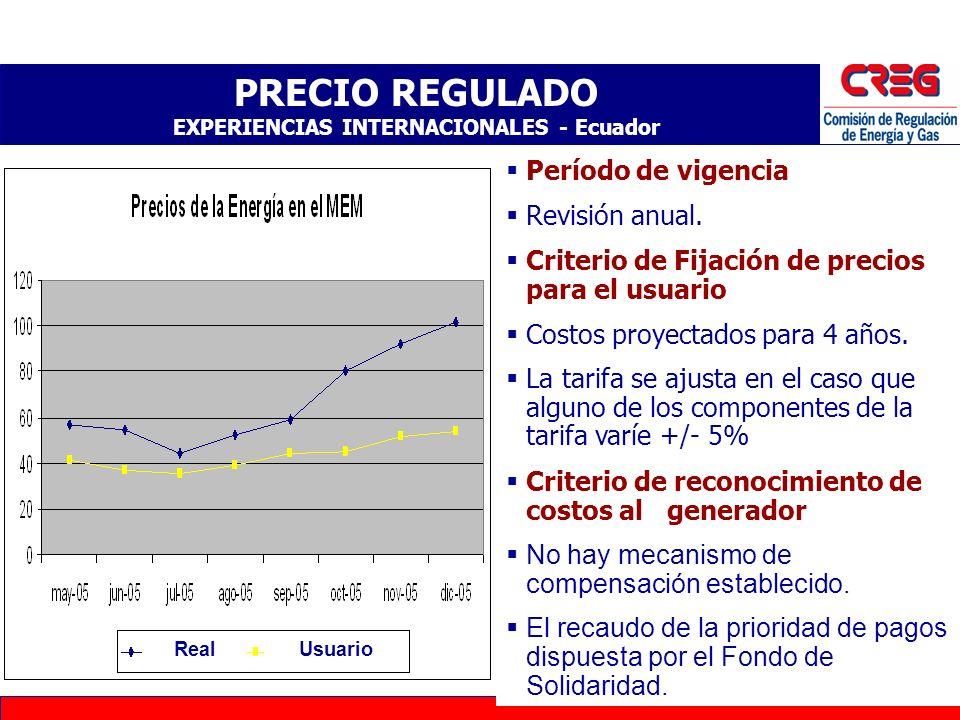 PRECIO REGULADO EXPERIENCIAS INTERNACIONALES - Ecuador