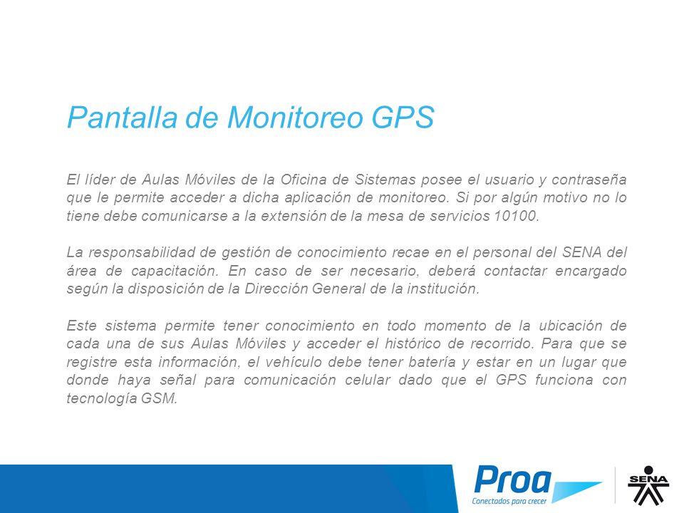 Pantalla Monitoreo GPS II