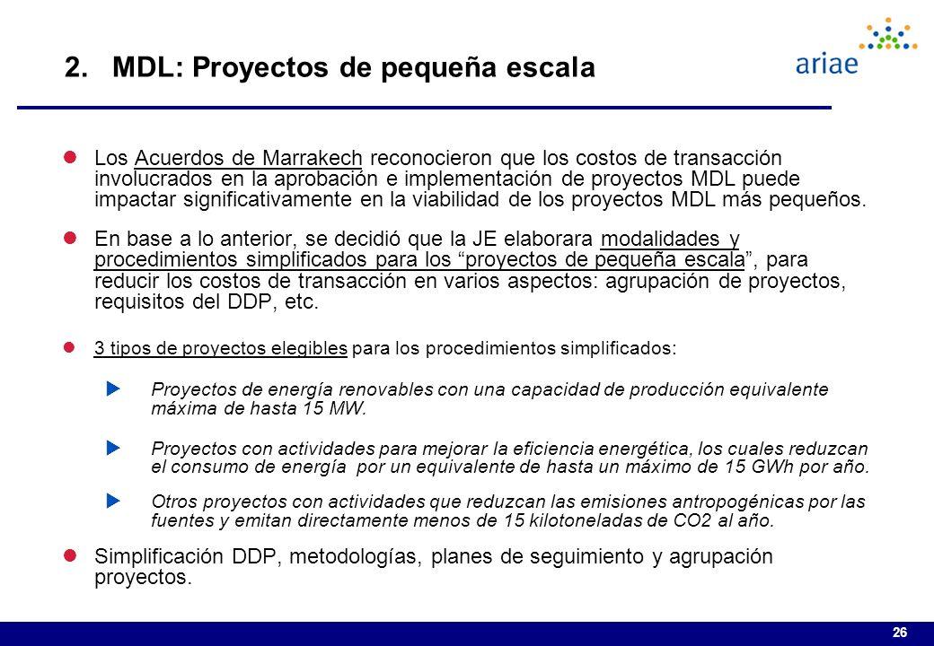 2. MDL: Proyectos de pequeña escala