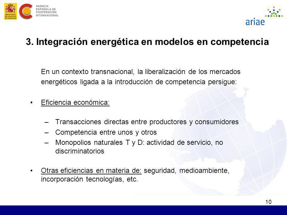 3. Integración energética en modelos en competencia