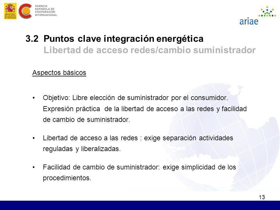 3.2 Puntos clave integración energética Libertad de acceso redes/cambio suministrador