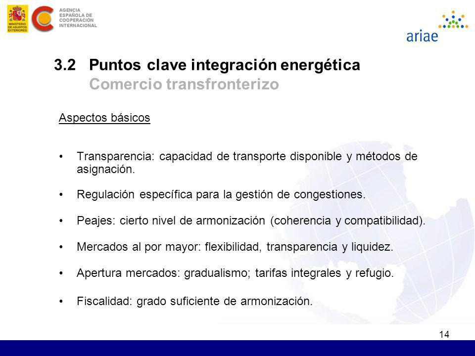 3.2 Puntos clave integración energética Comercio transfronterizo