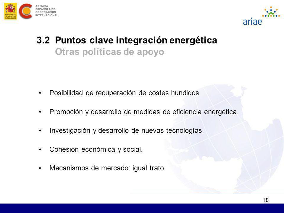 3.2 Puntos clave integración energética Otras políticas de apoyo