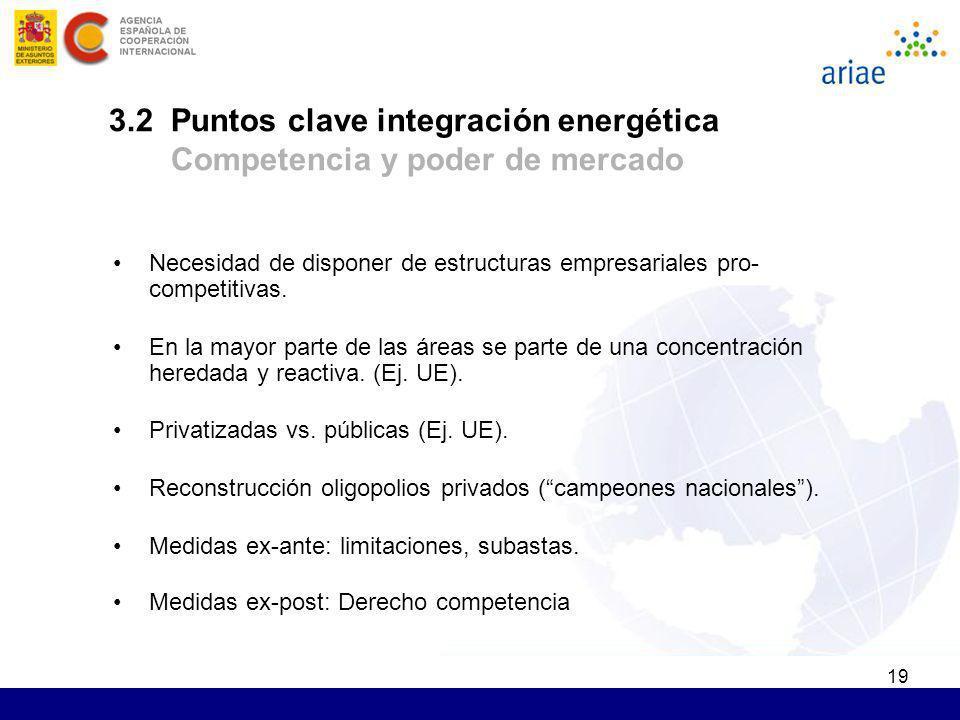 3.2 Puntos clave integración energética Competencia y poder de mercado