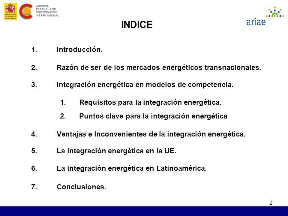 INDICE Introducción. Razón de ser de los mercados energéticos transnacionales. Integración energética en modelos de competencia.
