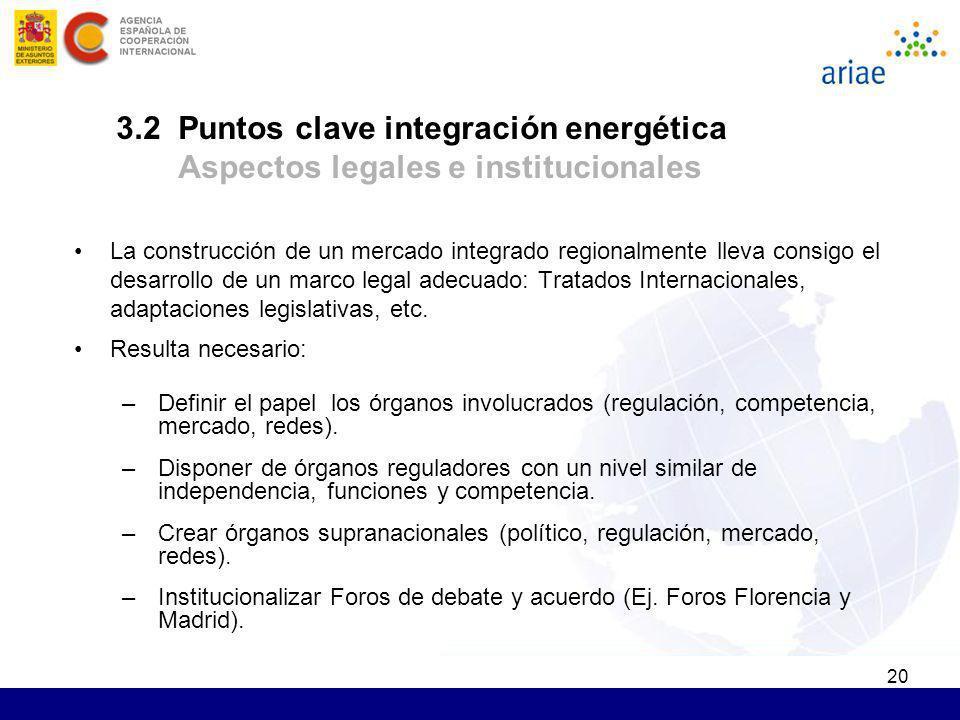 3.2 Puntos clave integración energética Aspectos legales e institucionales