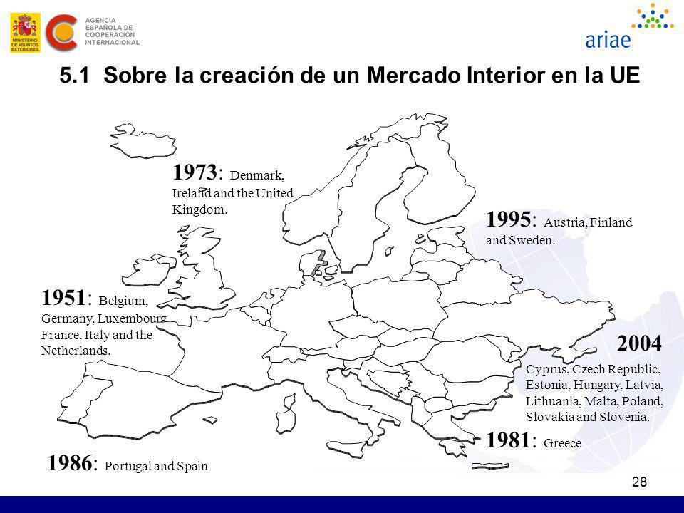 5.1 Sobre la creación de un Mercado Interior en la UE