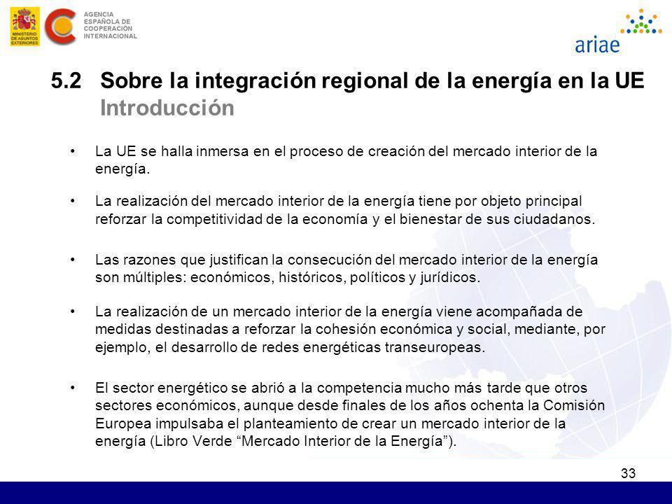 5.2 Sobre la integración regional de la energía en la UE Introducción
