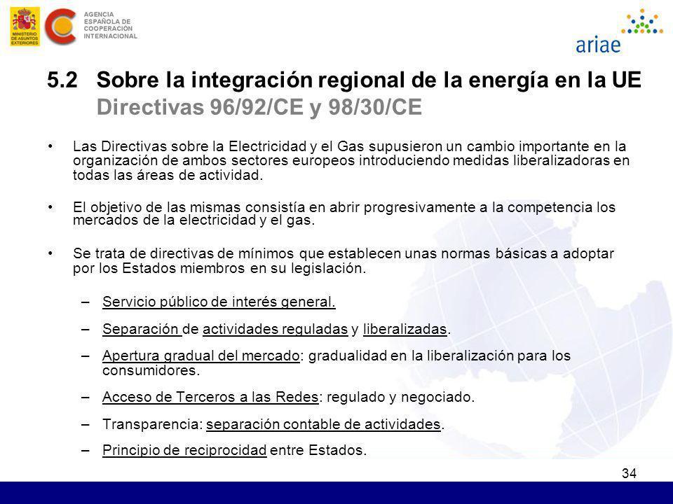 5.2 Sobre la integración regional de la energía en la UE Directivas 96/92/CE y 98/30/CE