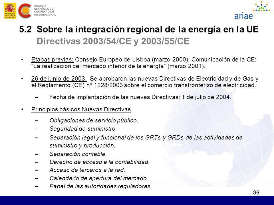 5.2 Sobre la integración regional de la energía en la UE Directivas 2003/54/CE y 2003/55/CE