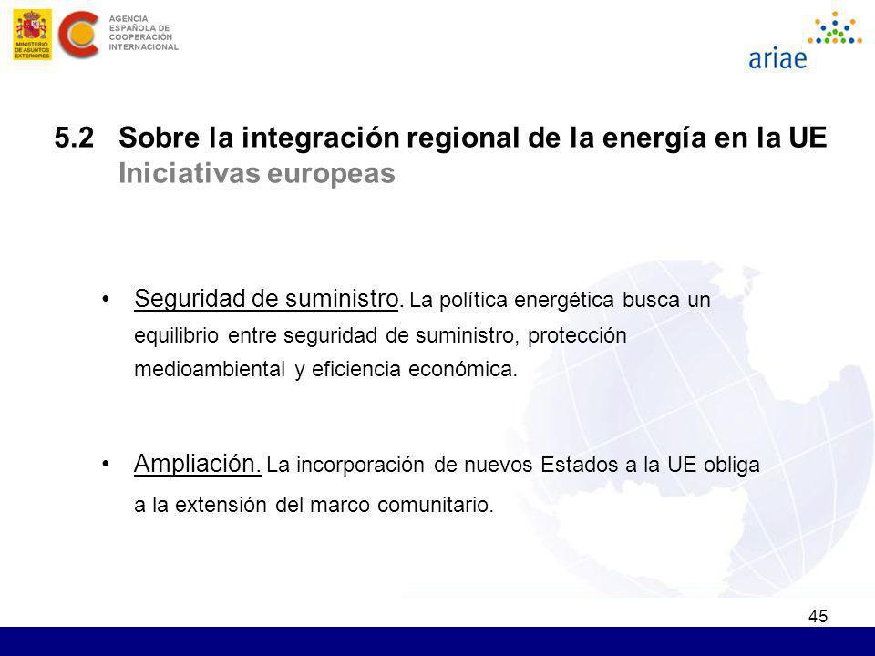 5.2 Sobre la integración regional de la energía en la UE Iniciativas europeas