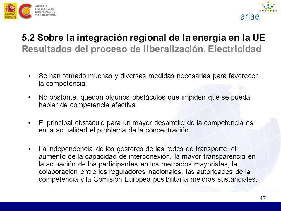 5.2 Sobre la integración regional de la energía en la UE Resultados del proceso de liberalización. Electricidad