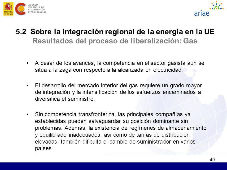 5.2 Sobre la integración regional de la energía en la UE Resultados del proceso de liberalización: Gas
