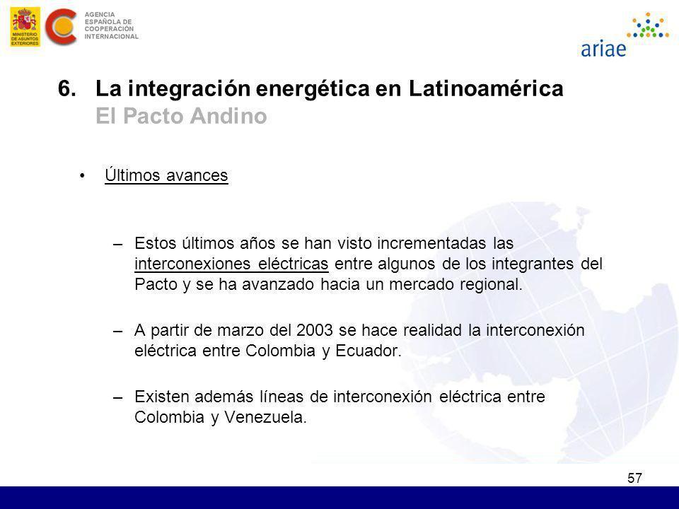 6. La integración energética en Latinoamérica El Pacto Andino