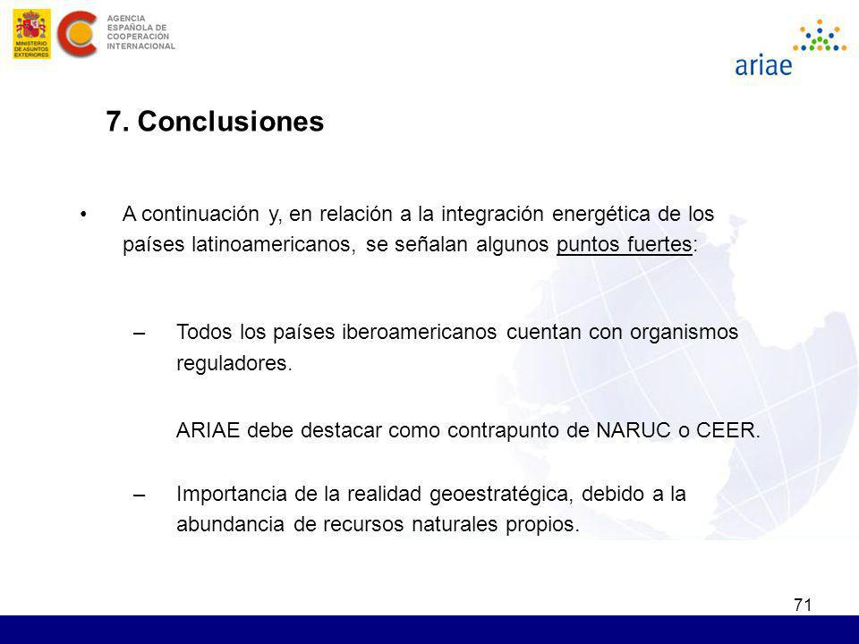 7. Conclusiones A continuación y, en relación a la integración energética de los países latinoamericanos, se señalan algunos puntos fuertes: