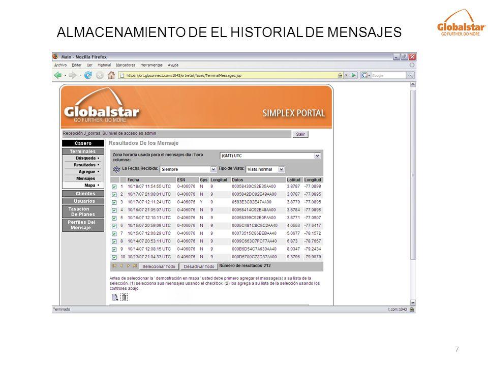 ALMACENAMIENTO DE EL HISTORIAL DE MENSAJES