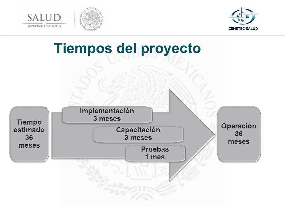 Tiempos del proyecto Implementación 3 meses Tiempo estimado36