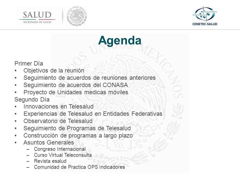 Agenda Primer Día Objetivos de la reunión