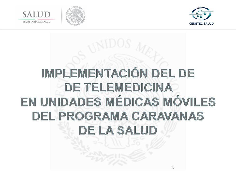 IMPLEMENTACIÓN DEL DE DE TELEMEDICINA EN UNIDADES MÉDICAS MÓVILES DEL PROGRAMA CARAVANAS DE LA SALUD