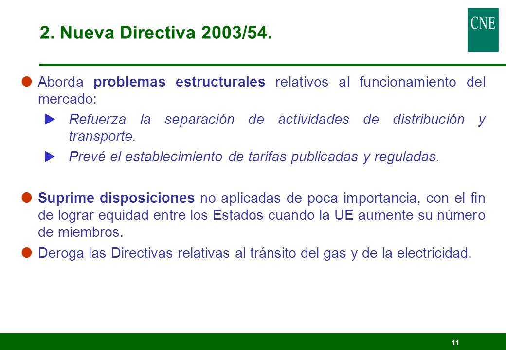 2. Nueva Directiva 2003/54. Aborda problemas estructurales relativos al funcionamiento del mercado: