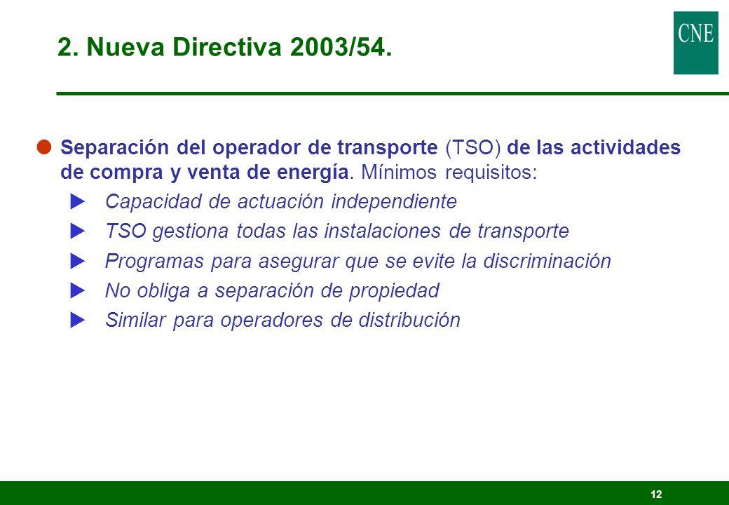 2. Nueva Directiva 2003/54. Separación del operador de transporte (TSO) de las actividades de compra y venta de energía. Mínimos requisitos:
