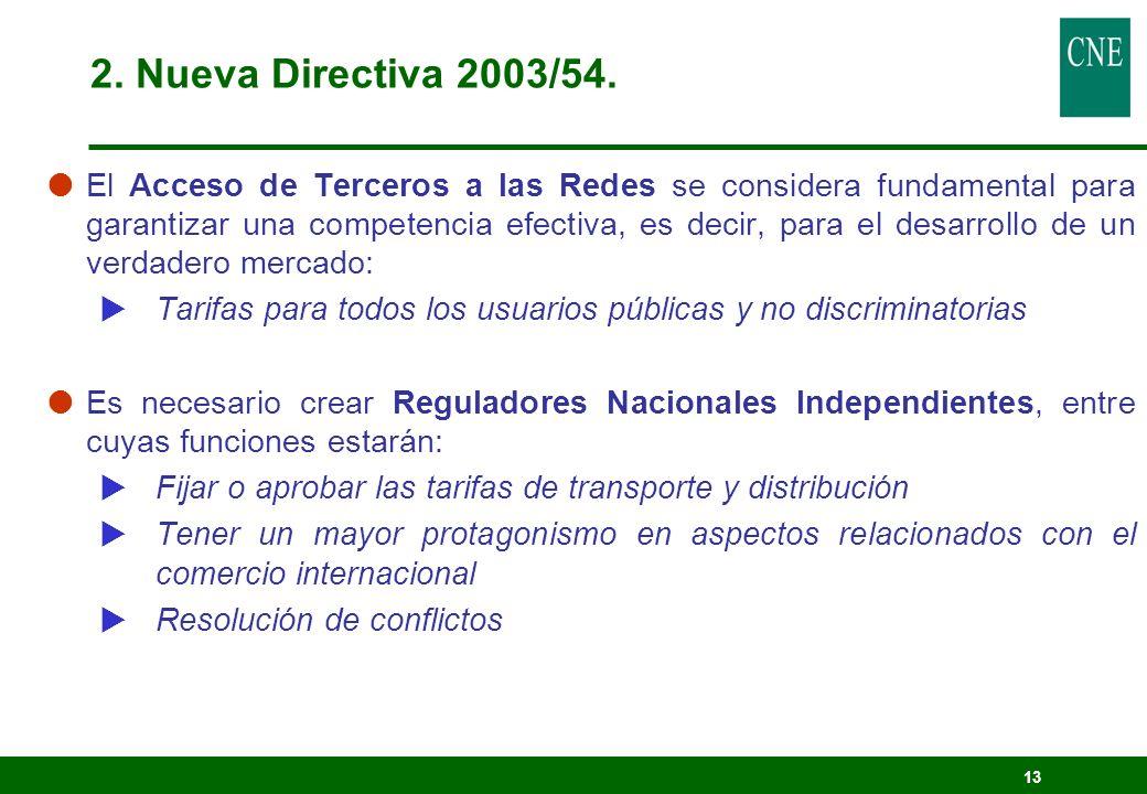 2. Nueva Directiva 2003/54.